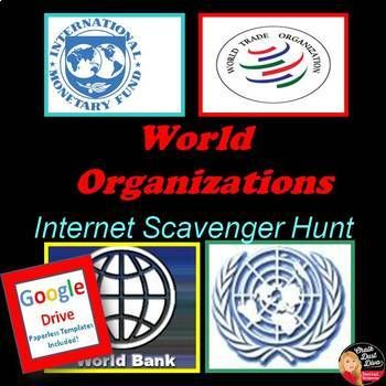 For the activity students will be assigned one of the World Organizations to research (websites are listed) and will have to teach their group members about their organization. This Power Point includes detailed directions for the students and a review of the World Organizations mentioned in the objective.