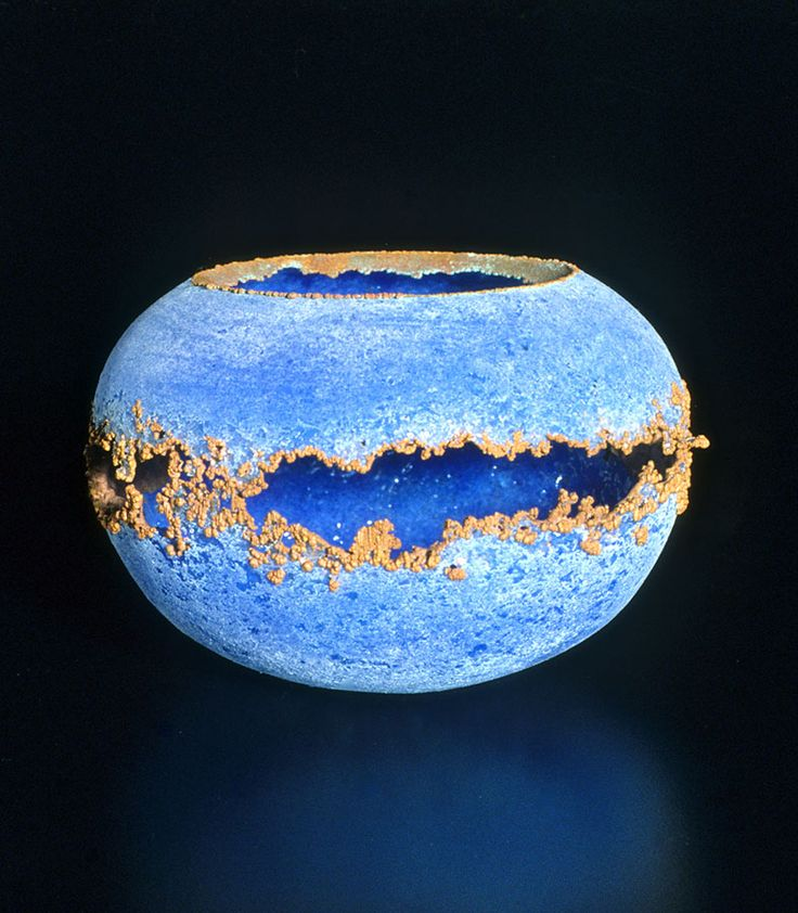 <i>The Beginning</i>, 1993; 4 x 6 inches; pâte de verre glass and electroplated copper. This was the first piece in this style made by Keith Clayton.