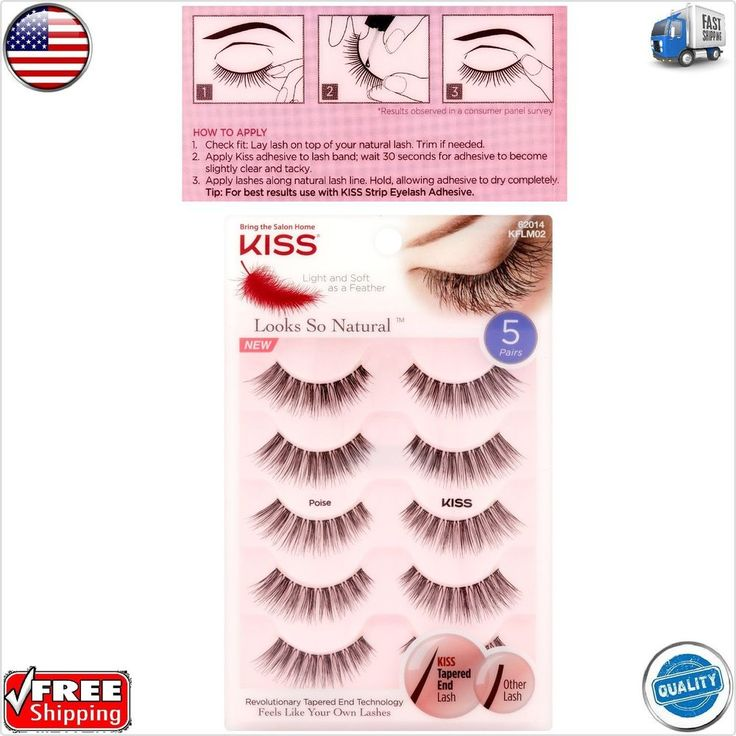 Kiss ® Looks So Natural False Eyelashes - Poise - 5 pairs FREE 2-5 DAY SHIPPING  | eBay