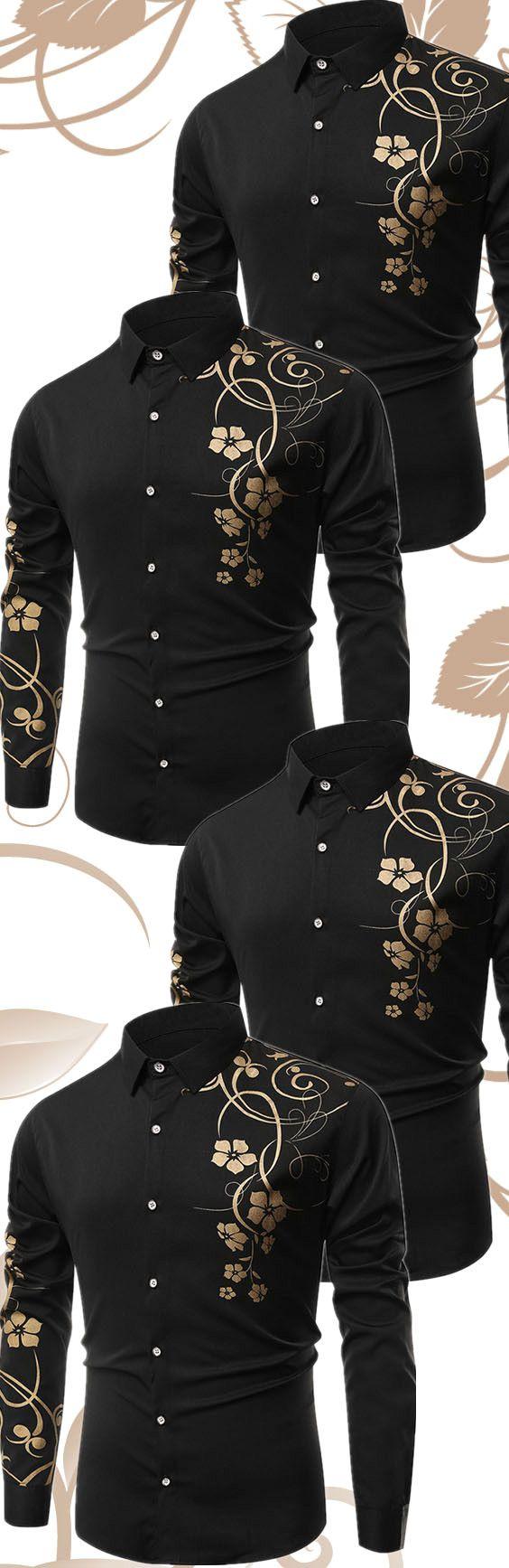 $19.80 Floral Printed Long Sleeves Shirt - Black