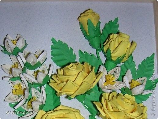 Картина, панно Бумагопластика, Квиллинг: Желтые розы Бумага, Бумажные полосы. Фото 2