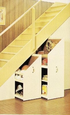 I need storage space under my basement stairs.  After seeing this idea I thought maybe I could use some bookshelves turned sideways and tops cut to fit under stairs.  Add wheels and some drawer pulls.  Even thought of putting a desk that pulls out sideways under the lower part of the stairs.  This could become a hide-away craft/sewing area that I don't have space for anywhere else in our small home.