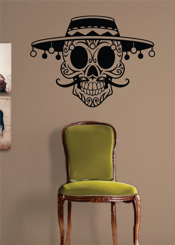 Hey, I found this really awesome Etsy listing at https://www.etsy.com/listing/175359627/mexican-sugar-skull-decal-sticker-wall