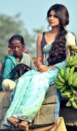 "Priyanka Chopra shoots for her upcoming ""Gunday""."