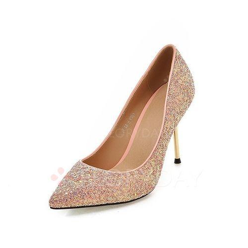 Sko - $56.31 - Kvinner Pumps Stiletto Hæl Glitrende Glitter med Glitrende Glitter Sko (1625120530)