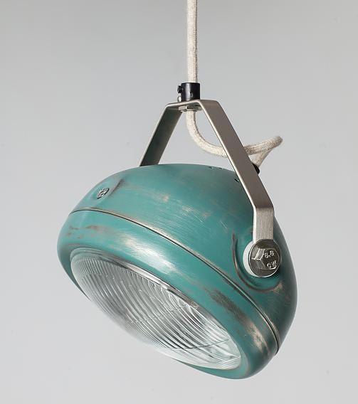 No.5 vintage headlight in aqua – hanging lamp – spotlight – industrial lighting