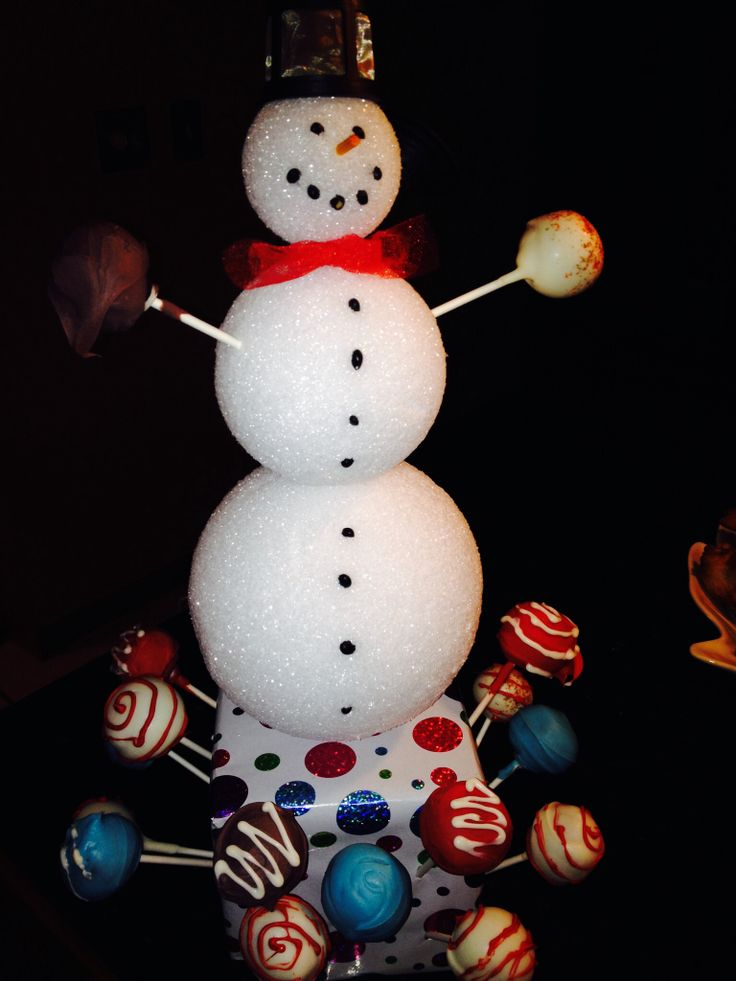 Snowman cake pop display.  Blackbean eyes and buttons, wood skewer nose dipped in orange food color and a Keurig cup brewer hat.  The styrofoam held together with a metal skewer and base is a square cube of craft styrofoam.