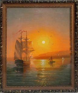 Закат на море - Морской пейзаж <- Картины маслом <- Картины - Каталог | Универсальный интернет-магазин подарков и сувениров