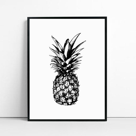 pineapple print pineapple decor tropical print fruit by GorgeousGD