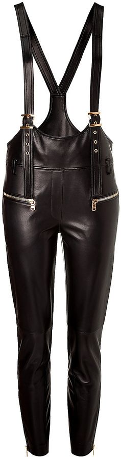 $1,536, Black Leather Overalls: Emilio Pucci Leather Overalls. Sold by STYLEBOP.com. Click for more info: https://lookastic.com/women/shop_items/108944/redirect