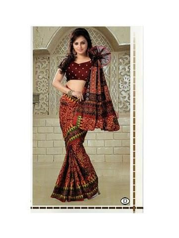 NS11644 D Maroon & Brown Designer Printed Pure Cotton Saree