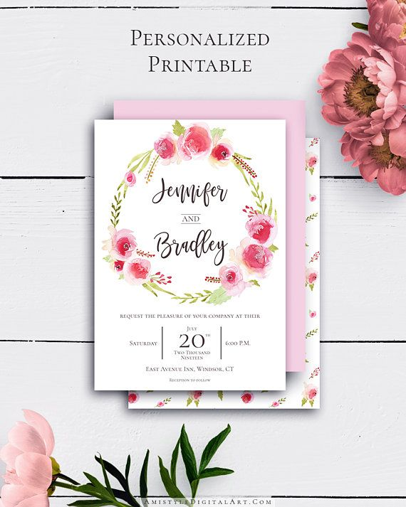 Customized Rose Wreath Invitations with elegant and delightful watercolor rose wreath in vintage wedding style by Amistyle Digital Art on Etsy
