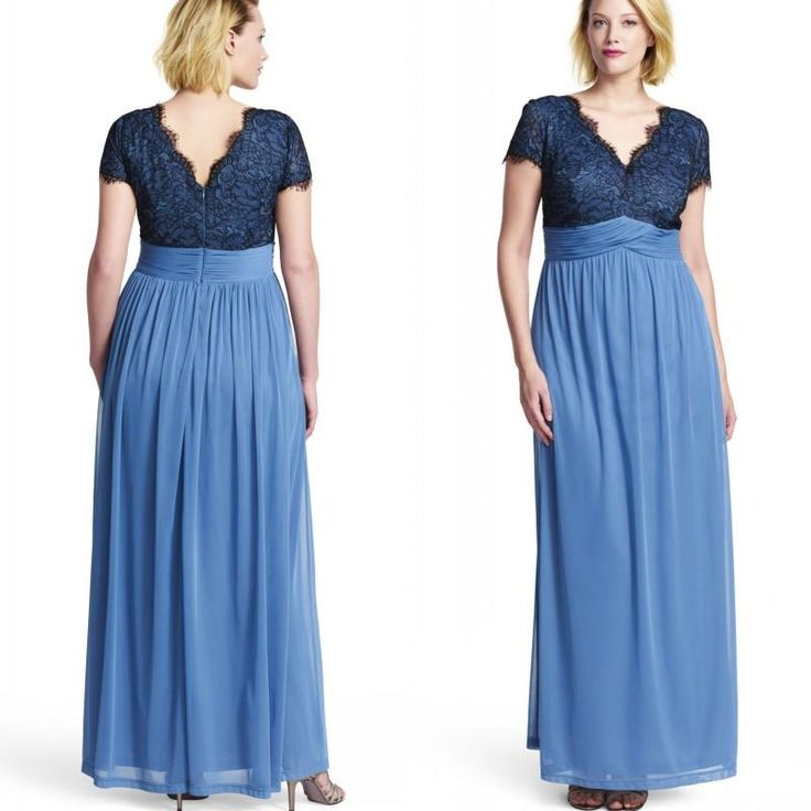Plus size navy chiffon dress