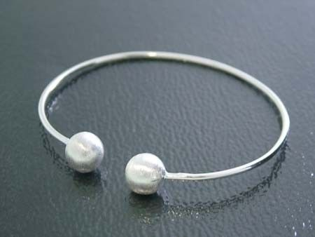 925 Sterling Silver Bangle w/ Pearl End Caps (Order)