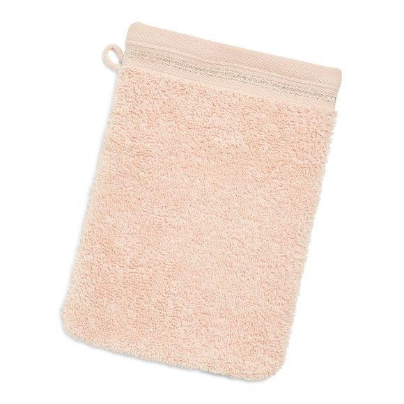 Gant de toilette rose, bordure lurex