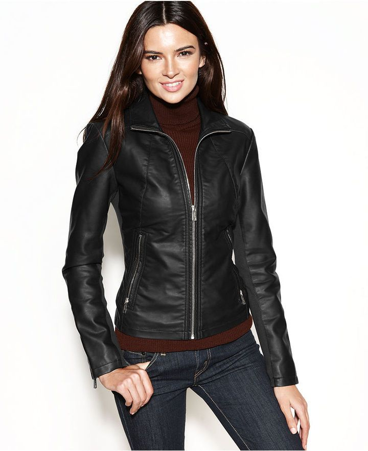 Faux Leather Zippered Cuff Jacket | Leather Bombers and Jackets