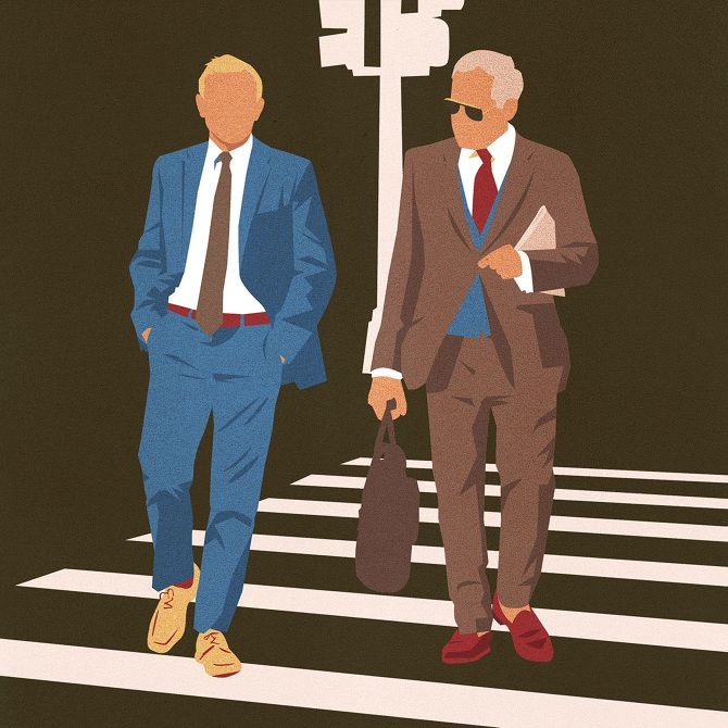 Illustration by Amy DeVoogd for The Wall Street Journal (AD: Pete Hausler). Fashion reporter Teri Agins asks: who says shoes have to match a man's suit? http://online.wsj.com/articles/do-shoes-have-to-match-a-mans-suit-1417643916