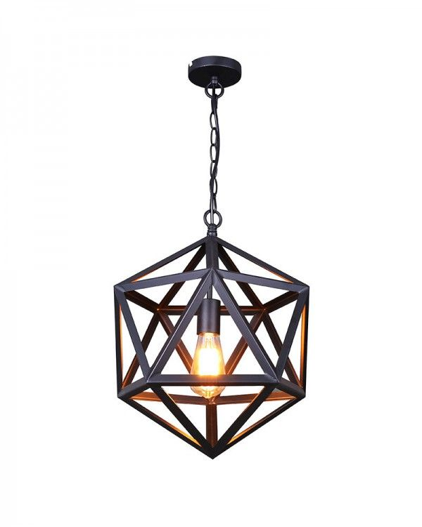 Let S Stay Industrial Lighting Fixtures: Industrial Style Black Iron Cage Pendant Light. Don't Let