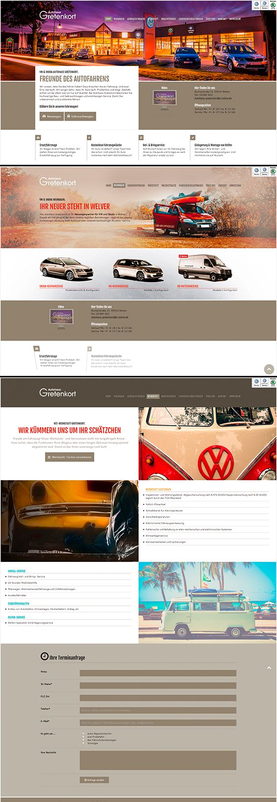 Webseite / Webdesign für das VW und Skoda Autohaus Gretenkort in Welver. www.autohaus-gretenkort.de