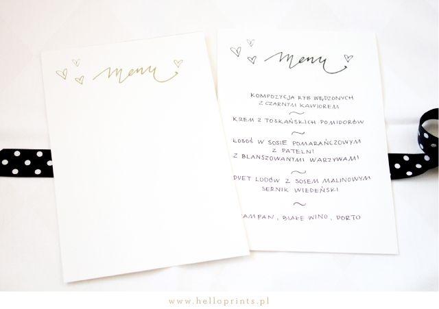 Hello! Prints Blog | Darmowe szablony kart menu calligraphy II / Free printable menu cards | http://www.helloprints.com.pl/blog