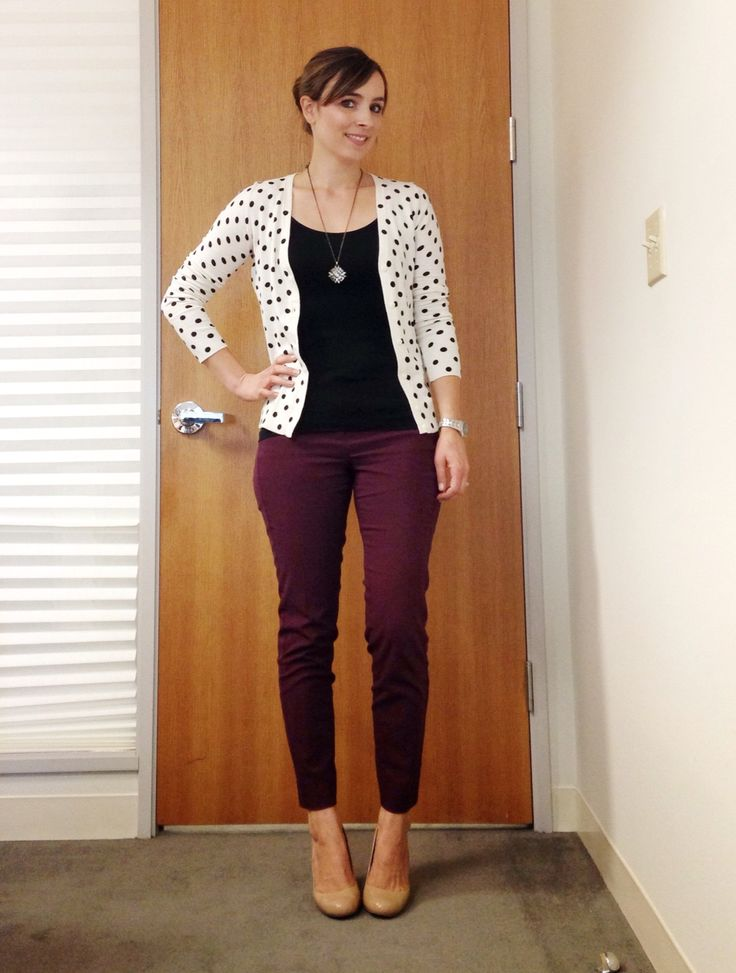 Love the polka dot cardigan with the maroon pants! via Nine-Thirty to Five