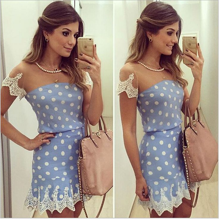 Gorgeous Blue Polka dots Dress with Lace Details
