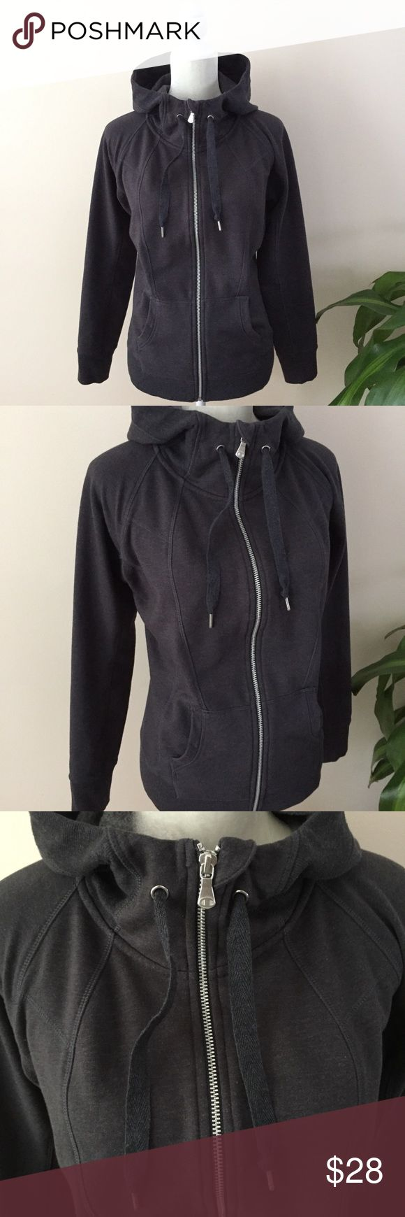 Champion Dark Grey Zip Up Hoodie Champion Charcoal Grey Funnel Zip Up Hoodie   Charcoal grey. Cozy thick feel. Funnel neck zip. Front pockets. No flaws! Size M. Length: 25 in Bust: 19 in flat Champion Tops Sweatshirts & Hoodies