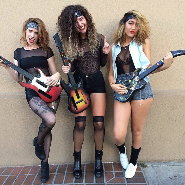 Big hair, thick headbands, and guitars will complete a girl band look. Image Source: Instagram user america...