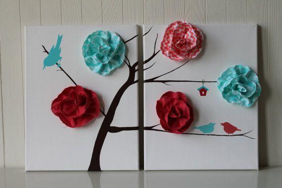 Bird Nursery Decor Baby Girl Nursery Coral by JoanitaBonita, $70.00