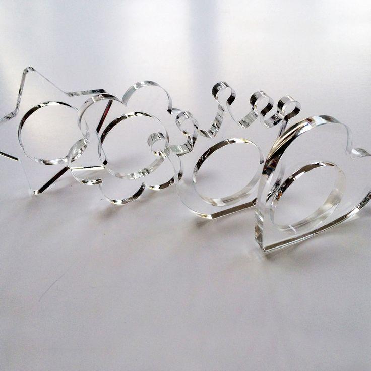 Clear perspex Lasercut Knapkin Rings - Heart, Crown, Daisy and Star | Blueprintjim