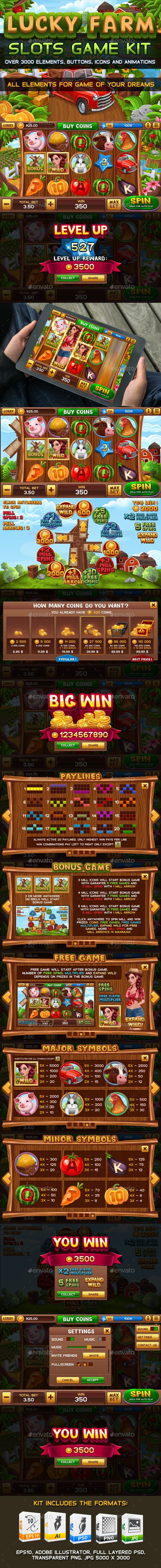 Lucky Farm Slots Game KIT — Photoshop PSD #reel #template • Download ➝ https://graphicriver.net/item/lucky-farm-slots-game-kit/20083374?ref=pxcr