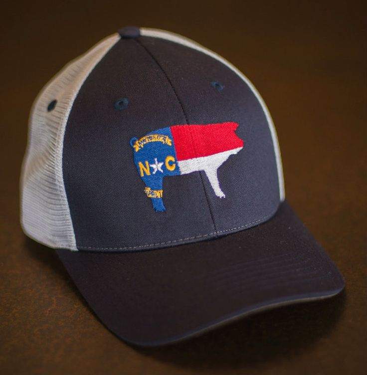 North Carolina Pig Flag Hat Navy with Mesh Back wide rim