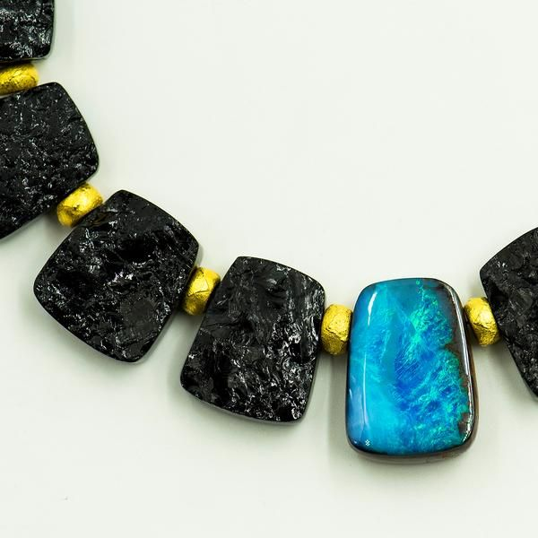 Jennifer Kalled Opal Black Tourmaline Necklace Boulder Opal