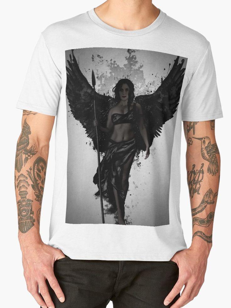 Dark Valkyrja by Nicklas Gustafsson #valkyrie #valkyrja #viking #woman #warrior #angel #wings #spatter #dark #tee #shirt #clothing #apparel