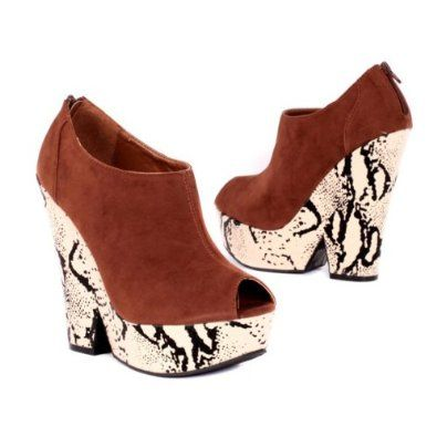 Qupid Women's Platforms & Wedges Shoes High Heel Pumps Chunky Open Toe,  Cognac Faux Suede