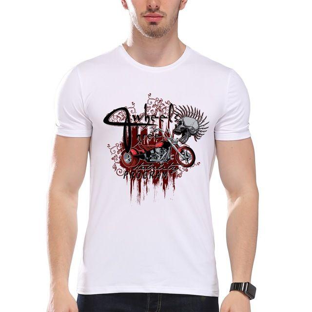 TEEHEART Men's Vintage Motorcycle Print T-Shirt  Men Summer Modal Hipster Tees la232
