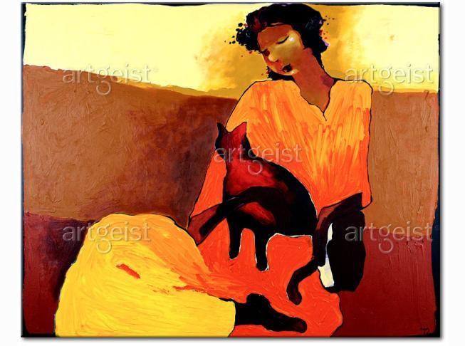 Obraz Kobieta z kotem - dekoracja na ścianę w ciepłych barwach rozświetli każdy salon #obrazy #recznie #malowane #tryptyki #dekoracje #ścienne #sztuka #malarstwo #wnętrza