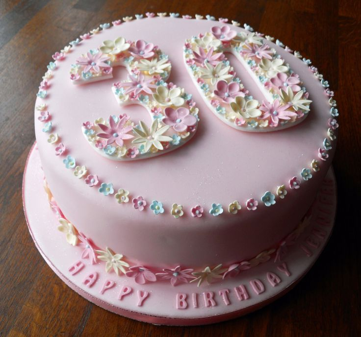 Flowery 30th Birthday Cake Fun Cakes Pinterest 30 Birthday