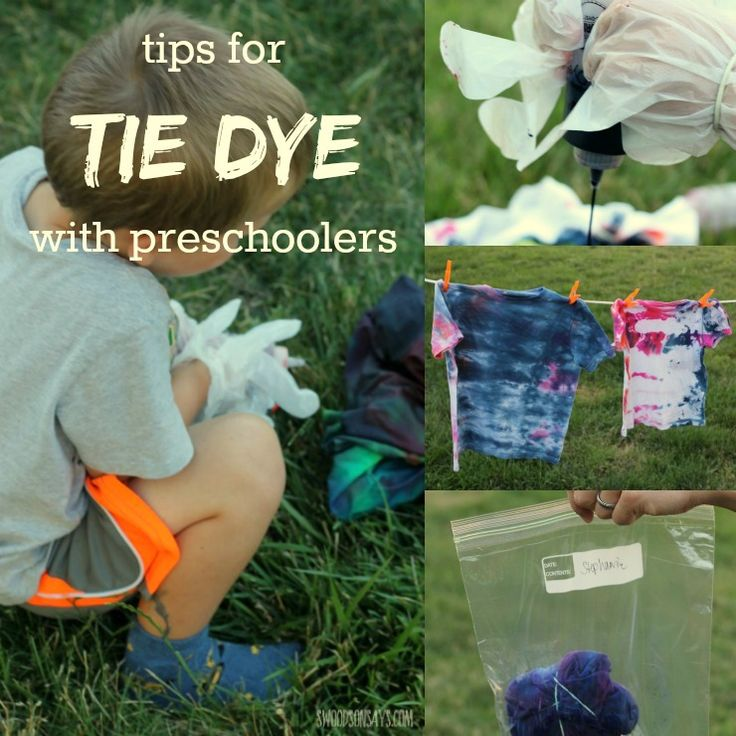 Tips for tie dye with preschoolers! Tie dyeing with young kids doesn't have to be a disaster - and they will love wearing a shirt they helped make! Easy tie dye tips for any parent.