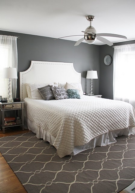 Main bedroom inspiration love the grey white contrast and the rug my style pinterest Master bedrooms with upholstered beds