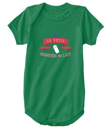 Little French Milk Monster Baby Onesie Kelly T-Shirt Front