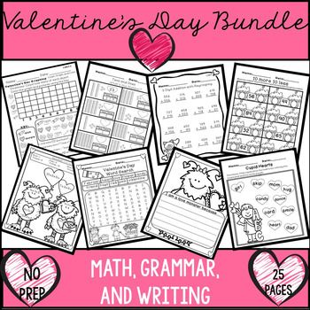 Valentine's Day activities for math, grammar, writing and literacy. These are fun and engaging activities that could be used in a center, homework, or individual practice. Skills included: Data, double digit subtraction, double digit subtraction with regrouping, double digit addition, double digit addition with regrouping, 3 digit addition with regrouping, 3 digit subtraction with regrouping, 3 addends, 3 addends with double digits, missing addends, word problems, base ten, base ten…