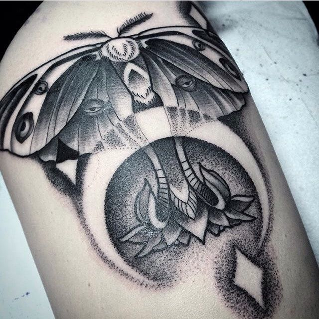 Luna moth dot work by resident artist at Off the Map Tattoo NW @canyonwebb call the shop at 541-244-1141 to get an appointment with him! #offthemaptattoo #offthemap #otm #dotwork #dotworktattoo #dotworktattoos #luna #lunamoth #lunamothtattoo #moth #mothtattoo