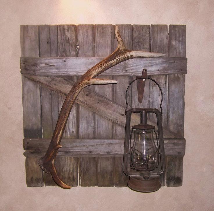 Vintage Barn Door Wall Hanging, Elk Antler, Vintage Lantern, Lodge Look, elk horn. $250.00, via Etsy.
