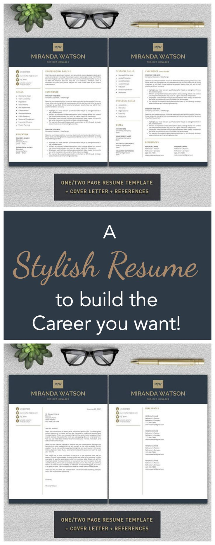 Love how stylish and professional this Resume is! Sure to impress recruiters and HR managers! #ad | #Professional #Resume #Template | Resume Template for #Word | #CV Template + #CoverLetter & #References | #Modern Resume Template