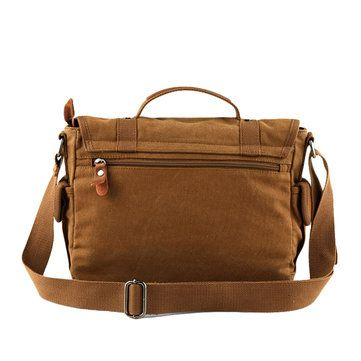 Canvas Casual Business Handbag Street Outdoor Shoulder Bag Khaki Messenger Bag - US$39.99
