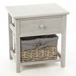 photo meuble de chevet - table de nuit grise - 1 tiroir + 1 panier