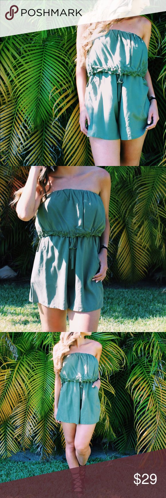 •Congo Playsuit• Inspired by Central Africa's lushes rainforest our Congo playsuit offers a beautiful green shade with romantic lace detailing and waist tie. Easily take our it from day to night by adding some strappy black heels.  •Color: Green •Style: Romper •Features/Details: Beautiful green with beautiful lace detailing and waist tie.  •Photos are of actual product  •Price is firm  •10% discount on bundles of two or more  •Photo Credit: The Wanderlust Bazaar  •Bohemian, boho, army green…