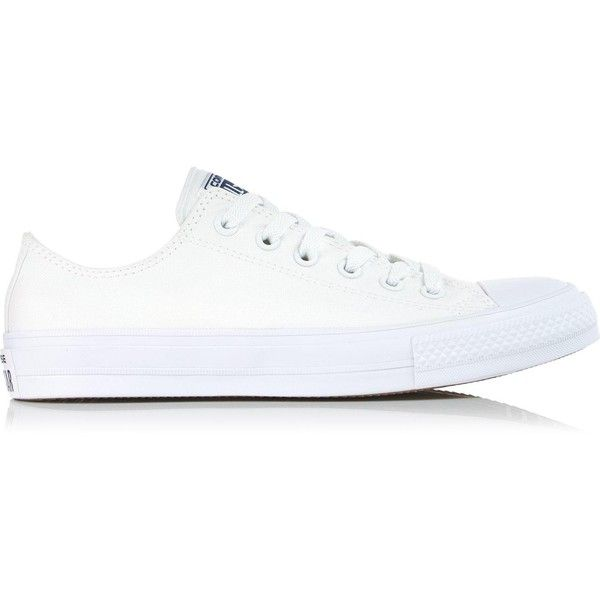 Converse Chuck Taylor All Star Ii Low Top Trainers (£60) ❤ liked on Polyvore featuring shoes, sneakers, white, white low top shoes, low profile sneakers, low top, star shoes and white low tops