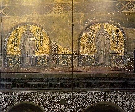 Hagia Sophia. Mosaics of the Church Fathers that were covered with plaster after 1453 and uncovered after 1934.